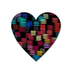 Colorful horizontal paint strokes                         Magnet (Heart)