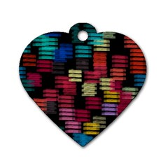 Colorful Horizontal Paint Strokes                         Dog Tag Heart (one Side)