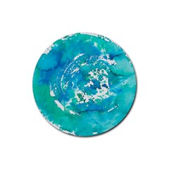 Blue watercolors circle                          Rubber Round Coaster (4 pack)
