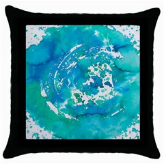 Blue watercolors circle                          Throw Pillow Case (Black)
