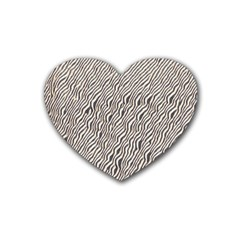 Zebra Pattern Animal Print Rubber Coaster (Heart)