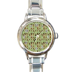 Puppy Dog Pattern Round Italian Charm Watch
