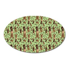 Puppy Dog Pattern Oval Magnet