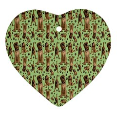 Puppy Dog Pattern Heart Ornament (Two Sides)