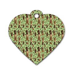 Puppy Dog Pattern Dog Tag Heart (two Sides)