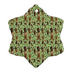 Puppy Dog Pattern Snowflake Ornament (two Sides)