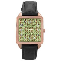 Puppy Dog Pattern Rose Gold Leather Watch