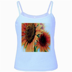 Sunflower Art  Artistic Effect Background Baby Blue Spaghetti Tank