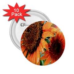 Sunflower Art  Artistic Effect Background 2 25  Buttons (10 Pack)