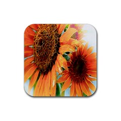 Sunflower Art  Artistic Effect Background Rubber Square Coaster (4 Pack)