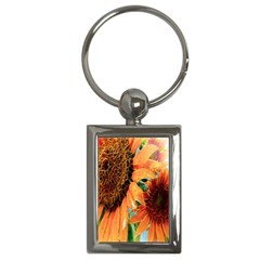 Sunflower Art  Artistic Effect Background Key Chains (rectangle)