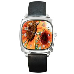Sunflower Art  Artistic Effect Background Square Metal Watch