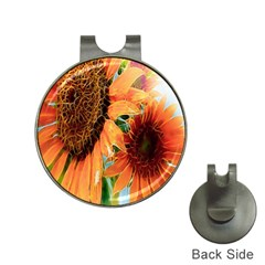 Sunflower Art  Artistic Effect Background Hat Clips With Golf Markers