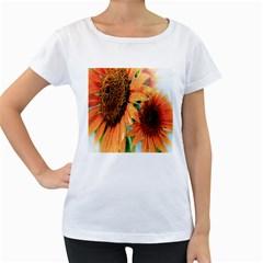 Sunflower Art  Artistic Effect Background Women s Loose Fit T Shirt (white)