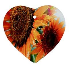 Sunflower Art  Artistic Effect Background Heart Ornament (Two Sides)