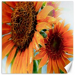 Sunflower Art  Artistic Effect Background Canvas 16  X 16