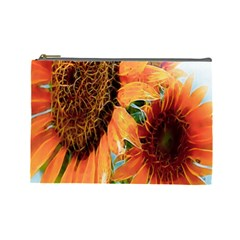 Sunflower Art  Artistic Effect Background Cosmetic Bag (large)