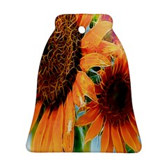 Sunflower Art  Artistic Effect Background Bell Ornament (two Sides)