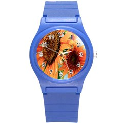 Sunflower Art  Artistic Effect Background Round Plastic Sport Watch (S)