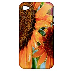 Sunflower Art  Artistic Effect Background Apple Iphone 4/4s Hardshell Case (pc+silicone)