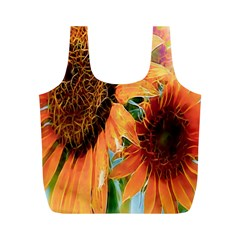 Sunflower Art  Artistic Effect Background Full Print Recycle Bags (m)