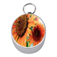 Sunflower Art  Artistic Effect Background Mini Silver Compasses
