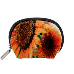 Sunflower Art  Artistic Effect Background Accessory Pouches (Small)