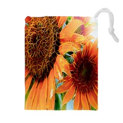 Sunflower Art  Artistic Effect Background Drawstring Pouches (Extra Large)