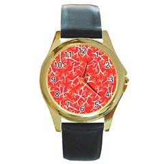 Small Flowers Pattern Floral Seamless Pattern Vector Round Gold Metal Watch