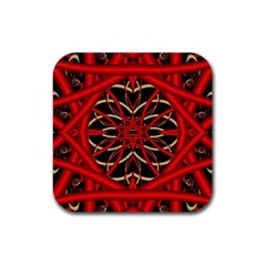Fractal Wallpaper With Red Tangled Wires Rubber Coaster (square)