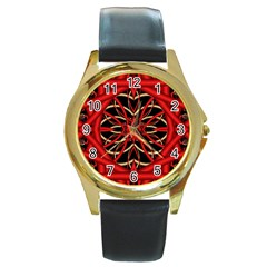 Fractal Wallpaper With Red Tangled Wires Round Gold Metal Watch