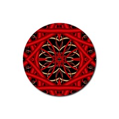 Fractal Wallpaper With Red Tangled Wires Rubber Coaster (round)