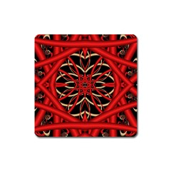 Fractal Wallpaper With Red Tangled Wires Square Magnet