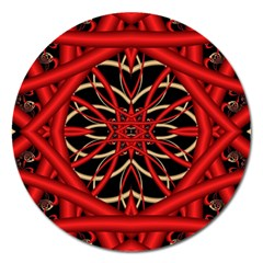 Fractal Wallpaper With Red Tangled Wires Magnet 5  (round)