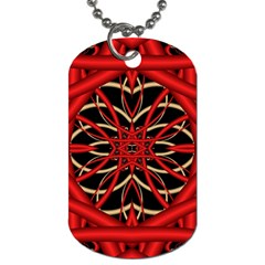 Fractal Wallpaper With Red Tangled Wires Dog Tag (two Sides)