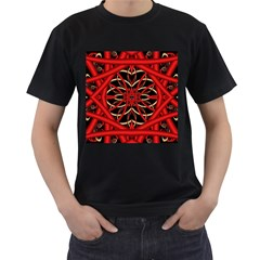 Fractal Wallpaper With Red Tangled Wires Men s T Shirt (black) (two Sided)