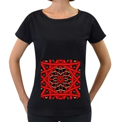 Fractal Wallpaper With Red Tangled Wires Women s Loose-Fit T-Shirt (Black)