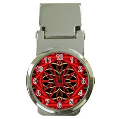 Fractal Wallpaper With Red Tangled Wires Money Clip Watches