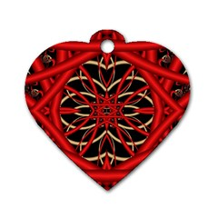 Fractal Wallpaper With Red Tangled Wires Dog Tag Heart (one Side)