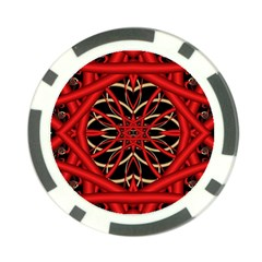 Fractal Wallpaper With Red Tangled Wires Poker Chip Card Guard