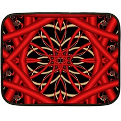 Fractal Wallpaper With Red Tangled Wires Double Sided Fleece Blanket (mini)