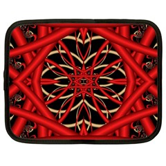 Fractal Wallpaper With Red Tangled Wires Netbook Case (xxl)