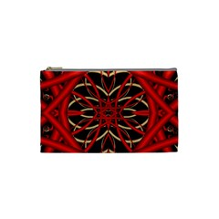 Fractal Wallpaper With Red Tangled Wires Cosmetic Bag (Small)