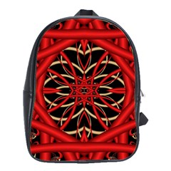 Fractal Wallpaper With Red Tangled Wires School Bags(Large)