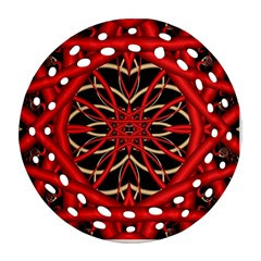 Fractal Wallpaper With Red Tangled Wires Ornament (round Filigree)