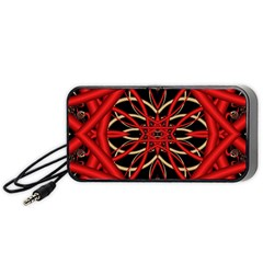 Fractal Wallpaper With Red Tangled Wires Portable Speaker (Black)