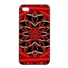 Fractal Wallpaper With Red Tangled Wires Apple Iphone 4/4s Seamless Case (black)
