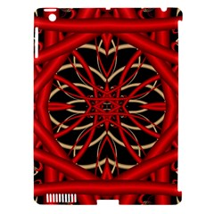Fractal Wallpaper With Red Tangled Wires Apple Ipad 3/4 Hardshell Case (compatible With Smart Cover)