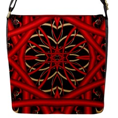Fractal Wallpaper With Red Tangled Wires Flap Messenger Bag (s)