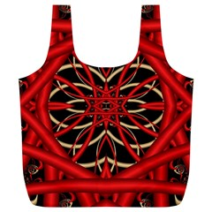 Fractal Wallpaper With Red Tangled Wires Full Print Recycle Bags (L)